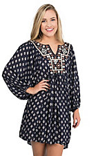 Angie Women's Navy with Cream and Taupe Embroidery and Print 3/4 Sleeve Tent Dress