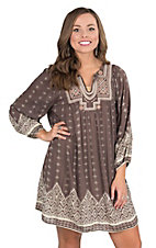 Angie Women's Dark Taupe with Taupe and Cream Embroidery and Print 3/4 Sleeve Tent Dress
