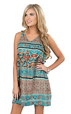 Angie Women's Teal Print Tank Dress