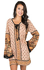 Angie Women's Ivory and Orange Multi Print with Tassel Tie Long Bell Sleeve Dress