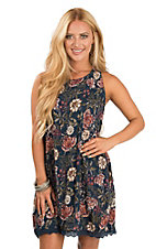 Angie Women's Navy Floral Sleeveless Dress