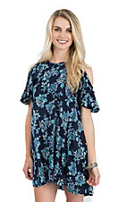 Angie Women's Blue Floral Cold Shoulder Dress
