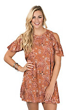 Angie Women's Rust Bandana Print Cold Shoulder Dress