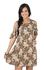 Angie Women's Olive Floral Cold Shoulder Dress