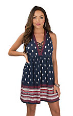 Angie Women's Navy Printed V-Neck Dress