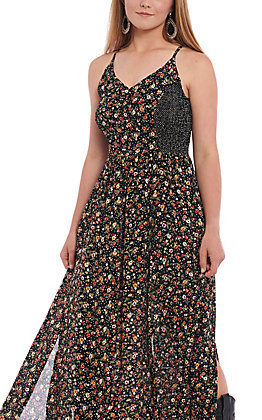 Angie Women's Black Floral Long Maxi Dress