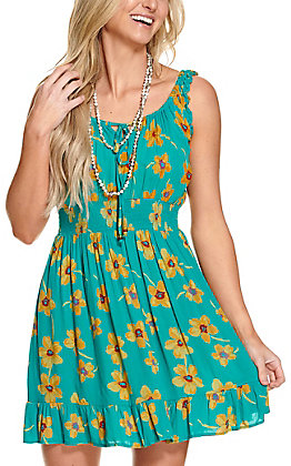 Angie Women's Teal with Mustard Flower Print Sleeveless Dress