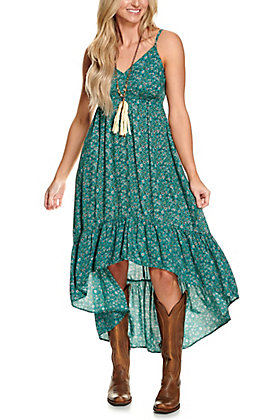 Angie Women's Teal Green with Ditsy Floral Print Sleeveless Hi-Lo Maxi Dress
