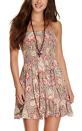 Angie Women's Grey with Floral Print Smocked Sleeveless Dress
