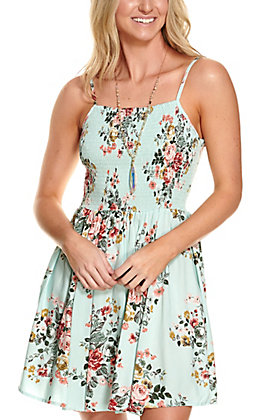 Angie Women's Mint with Pink & Mustard Floral Print Smocked Sleeveless Dress