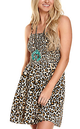 Angie Women's Black and Brown Leopard Print Smocked Sleeveless Dress
