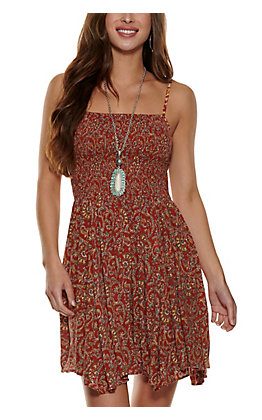 Angie Women's Rust with Paisley Print Smocked Sleeveless Dress