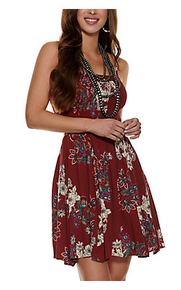 Angie Women's Wine with Floral Print Smocked Sleeveless Dress