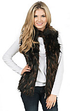Montana Clothing Co. Women's Black with Brown & Black Faux Fur Front Quilted Vest