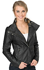 RD Style Women's Black Faux Leather & Knit Jacket