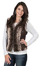 Montana Clothing Company Women's Brown Faux Fur with Toggle Closures Vest