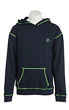 Rock & Roll Men's Navy with Lime Contrast Stitching Long Sleeve Flame Resistant Hoodie