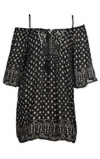 Angie Women's Black Mini Medallion Print Off the Shoulder Dress - Plus Size