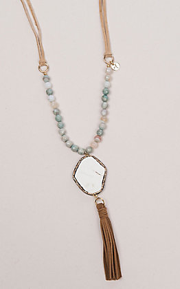 Laminin Fallen Water Striped Turquoise Beads on Camel Leather with White Turquoise Pendent and Camel Suede Tassel Necklace