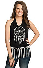 Vintage Havana Women's Black & White Dream Catcher with Fringe Open Back Halter Top