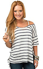 Vintage Havana Women's White & Navy Stripe Cold Shoulder Top