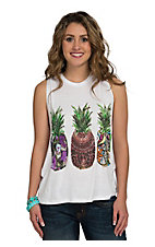 Surf Gypsy Women's White with Pineapple Print Tank
