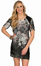 Karlie Women's Grey Snake Cap Sleeve Dress