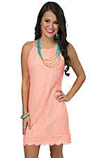 Karlie Women's Coral Vintage Lace with Scallop Hem Sleeveless Dress