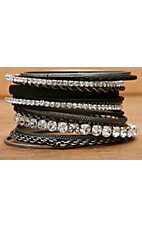 Wear N.E. Wear Silver, Black, & Clear Crystals 16 Piece Bangle Bracelet Set