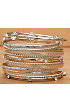 Wear N.E. Wear Gold & Silver with Clear Crystals 15 Piece Bangle Bracelet Set
