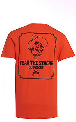 Men's OSU Fear The Stache Orange Short Sleeve T-Shirt