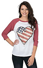 Bohemian Cowgirl Women's White with American Flag Heart Screen Print and Red Long Sleeves Casual Knit Top