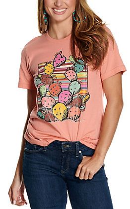 XOXO Art Co Women's Coral Fiesta Cactus Graphic Short Sleeve T-Shirt
