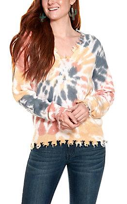 Fantastic Fawn Women's Tie Dye Long Sleeve Sweater