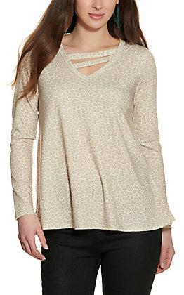 Fantastic Fawn Women's Sand Leopard Print Long Sleeve Top