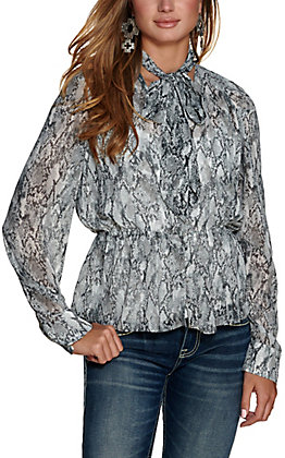 HYFVE Women's White and Black Snake Print Tie at Neck Long Sleeves Sheer Fashion Top