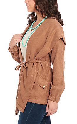 Favlux Fashion Women's Camel Brown Faux Suede Jacket