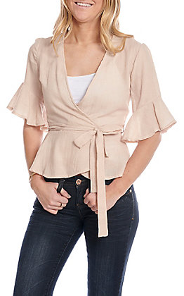 Favlux Fashion Women's Taupe Bell Sleeve Fashion Top