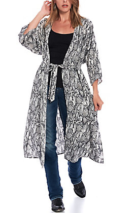 Favlux Fashion Women's Black & White Snake Print Kimono