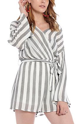 Favlux Fashion Women's Black and White Striped Romper