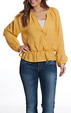 Favlux Women's Mustard Surplus V-Neck Fashion Top