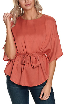 Favlux Women's Clay with Tie 3/4 Sleeve Fashion Top