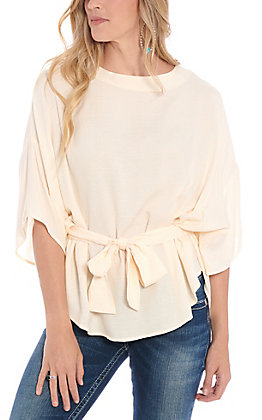 Favlux Fashion Women's Ivory Tie Front Fashion Top
