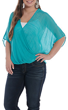 Favlux Fashion Women's Turquoise Solid Surplice Short Sleeve Fashion Top