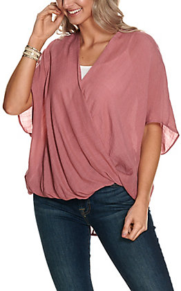 Favlux Fashion Women's Dusty Mauve Solid Surplice Short Sleeve Fashion Top
