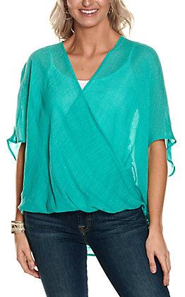Favlux Fashion Women's Lake Blue Solid Surplice Short Sleeve Fashion Top