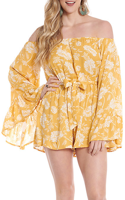 sneakers for cheap Sales promotion best deals on Favlux Fashion Women's Yellow Floral Off The Shoulder Romper