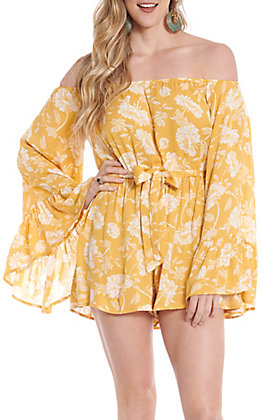 Favlux Fashion Women's Yellow Floral Off The Shoulder Romper
