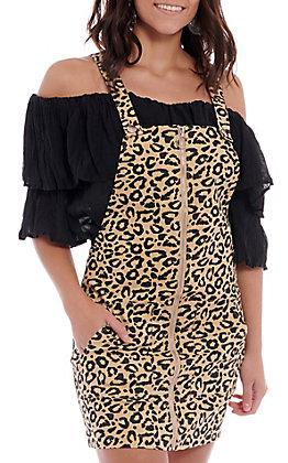 Favlux Fashion Women's Leopard Print Overall Dress