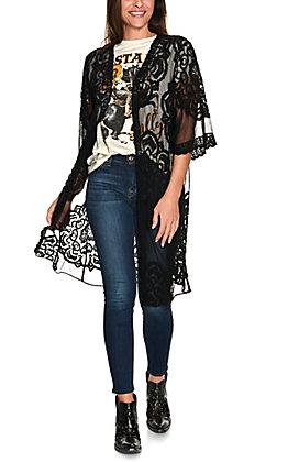 Favlux Women's Black Medallion Lace 3/4 Sleeve Kimono
